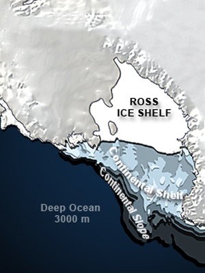 The Ross Ice Shelf and Continental Shelf are major geological features of the Ross Sea.©John Weller.